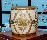 Product ID : 6835 - Category : Other Decor - Product Name : Wooden Double Side Leather Drum with White Lacquer and Gold Pattern