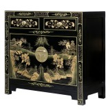 Product ID : 7111 - Category : Sideboard-Short - Product Name : Black Lacuqer Gold Painted Small Sidebaord with 2 Drawers and 2 Doors