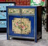 Product ID : 6769 - Category : Side Cabinet - Product Name : Chinese Blue and Yellow Lacquer Painted Side Cabinet 2 Drawers 2 Doors
