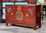 Product ID : 6803 - Category : Sideboard - Product Name : Vintage Chinese Red Lacquer Painted Trunk with 3 Drawers