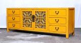 Product ID : 6959 - Category : TV Cabinet - Product Name : Yellow Lacquer Painted TV Cabinet with Glass Door and 6 Drawers