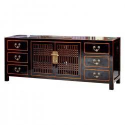Product ID : 6535 - Category : TV Cabinet - Product Name : Black Lacquer TV Cabinet with Lattice Door and 4 Drawer