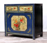 Product ID : 7039 - Category : Sideboard - Product Name : Chinese Blue and Yellow Lacquer Painted Side Cabinet 2 Drawers 2 Doors