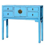 Product ID : 6847 - Category : Console Table - Product Name : Blue Chinese Style Hallway Console Table 4 Drawer 2 Door