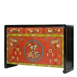 Product ID : 7088 - Category : Long Sideboard - Product Name : Mongolian Style Red and Black Lacquer Painted Sideboard with 3 Drawers and 2 Doors