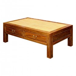 Product ID : 6678 - Category : Coffee Table - Product Name : Wooden Chinese Style Coffee Table with Rattan Inlay and Glass Top