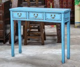 Product ID : 6548 - Category : Console Table - Product Name : Blue Lacquer Hallway Console Table with 3 Drawer