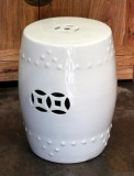 Product ID : 6380 - Category : Chair - Product Name : White Glaze Chinese Double Coin Symbol Drum Style Ceramic Stool