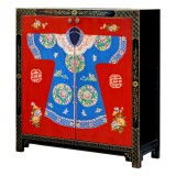 Product ID : 6650 - Category : Sideboard - Product Name : Chinese 2 Doors Lacquer Painted Shoes Cabinet with Dress Pattern