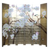 Product ID : 7099 - Category : Screen - Product Name : Hand Painted 6 Panels Room Divider Folding Screen with Gold Background and Flowers Birds Pattern
