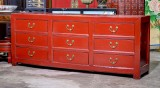 Product ID : 6812 - Category : Sideboard - Product Name : Chinese Red Lacquer Painted 9 Drawers Long Buffet Sideboard
