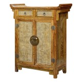 Product ID : 6560 - Category : Sideboard - Product Name : Wooden Altar Style Shoes Cabinet with Rattan Inlay