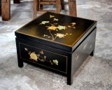 Product ID : 6614 - Category : Coffee Table - Product Name : Black Leather Wrap 1 Drawer Small Coffee Table
