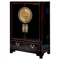 Product ID : 6559 - Category : Sideboard-Short - Product Name : Black Lacquer Shoes Cabinet with Circle Brass Door Decor