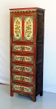 Product ID : 6447 - Category : Wardrobe - Product Name : Tibetan Painting Mini Wardrobe 2 Door 5 Drawer
