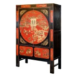 Product ID : 6669 - Category : Wardrobe - Product Name : Large Chinese Style Black and Red Lacquer Gold Painted Wedding Cabinet Style Wardrobe