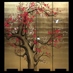 Product ID : 7011 - Category : Screen - Product Name : Hand Painted Four Panel Folding Screen with Cherry Blossom and Birds on Gold Leaf Background