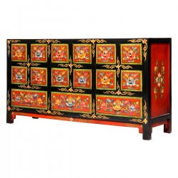 Product ID : 7027 - Category : Long Sideboard - Product Name : Tibetan Lacquer Painted Sideboard with 15 Drawer