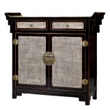 Product ID : 6903 - Category : Sideboard-Long - Product Name : Chinese Altar Style Black Lacquer Sideboard with Rattan Inlay Top and Doors