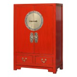 Product ID : 7096 - Category : Sideboard-Short - Product Name : Red Lacquer 2 Drawers 2 Doors Shoes Cabinet with Brass Decor