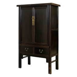 Product ID : 6026 - Category : Wardrobe - Product Name : Vintage Chinese Black Lacquer Wardrobe 2 Drawer 2 Door