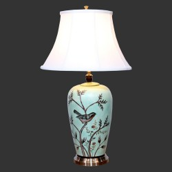 Product ID : 6947 - Category : Lighting - Product Name : Hand Painted Flower and Bird Pattern Ceramic Table Lamp