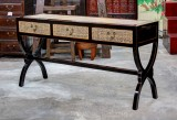 Product ID : 6556 - Category : Console Table - Product Name : Black Lacquer Cross Leg Console Table with Rattan Inlay