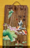 Product ID : 6895 - Category : Wall Decor - Product Name : Chinese Lacquer Painted on Vintage Natural Timber Panel