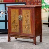 Product ID : 6778 - Category : Side Cabinet - Product Name : Antique Chinese Painted Side Cabinet with 3 Drawers and 2 Doors