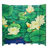 Product ID : 7100 - Category : Screen - Product Name : 6 Panels Room Divider Folding Screen with Lotus Pattern