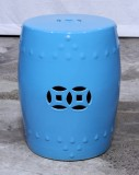 Product ID : 6824 - Category : Chair - Product Name : Blue Glaze Chinese Double Coin Symbol Drum Style Ceramic Stool