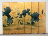 Product ID : 6231 - Category : Screen - Product Name : Gold Background Louts Painting Hand Painted Room Divider Screen